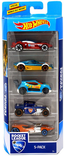 Rocket League Hot Wheels Gazella GT, MR11, Fast 4wd, Bone Shaker & Twin Mill III Diecast Car 5-Pack