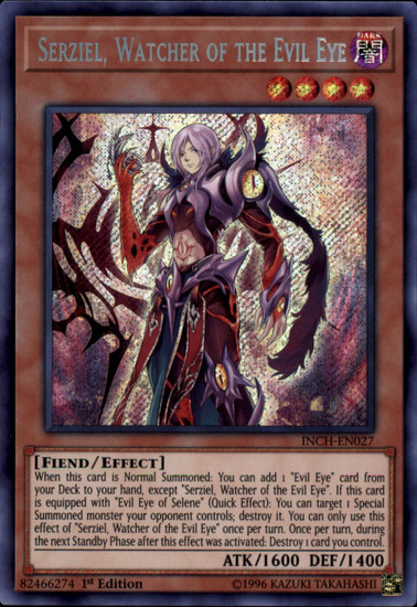 YuGiOh The Infinity Chasers Secret Rare Serziel, Watcher of the Evil Eye INCH-EN027