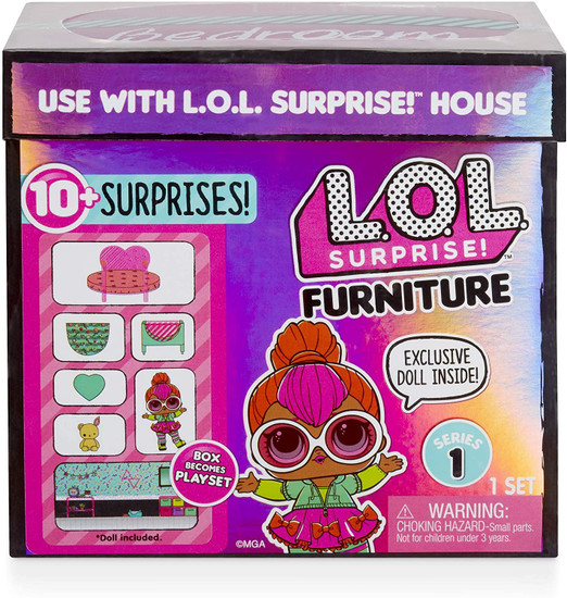 LOL Surprise Dolls Furniture Series 1 Bedroom & Neon Q.T. Play Set Pack