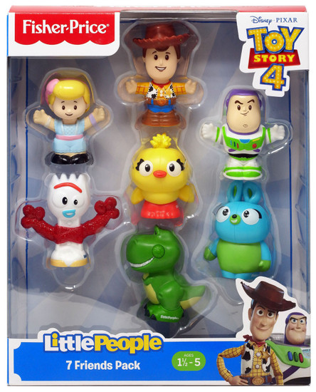 Fisher Price Toy Story 4 Little People Woody, Buzz, Bo Peep, Rex, Ducky, Bunny & Forky Figure 7-Pack