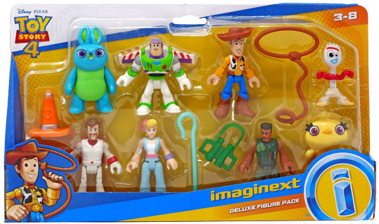Fisher Price Disney / Pixar Imaginext Toy Story 4 Bunny, Buzz, Combat Carl, Bo Peep, Duke Caboom, Woody, Forky & Ducky Deluxe Figure 8-Pack Set