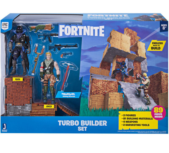 Fortnite Turbo Builder Set Action Figure Playset [Jonesy & Raven, Damaged Package]
