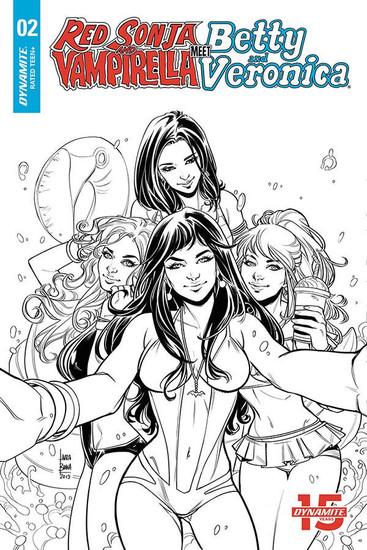 Dynamite Entertainment Red Sonja & Vampirella Meet Betty & Veronica #2 Comic Book [Laura Braga B&W Variant Cover]