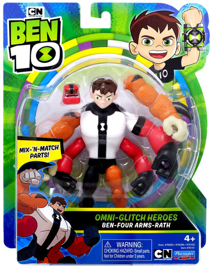 Ben 10 Omni-Glitch Heroes Ben - Four Arms - Rath Action Figure
