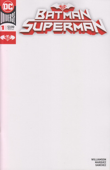 DC Batman Superman #1 Comic Book [Blank Variant Cover]