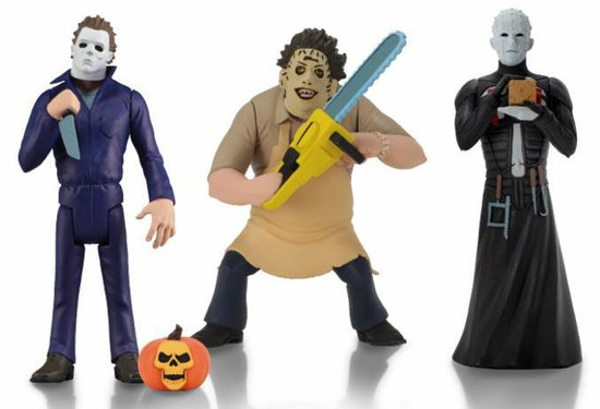 NECA Horror Toony Terrors Series 2 Michael Myers, Pinhead & Leatherface Set of 3 Action Figures