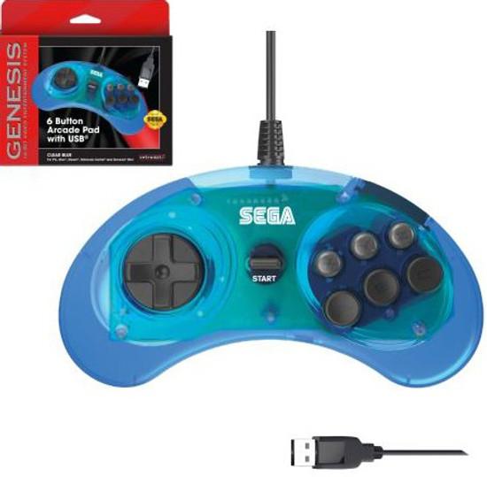 Sega Genesis 6-Button USB Port Controller [Clear Blue]