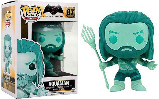 Funko DC Batman v Superman: Dawn of Justice POP! Movies Aquaman Exclusive Vinyl Figure #87 [Aqua Version, Damaged Package]