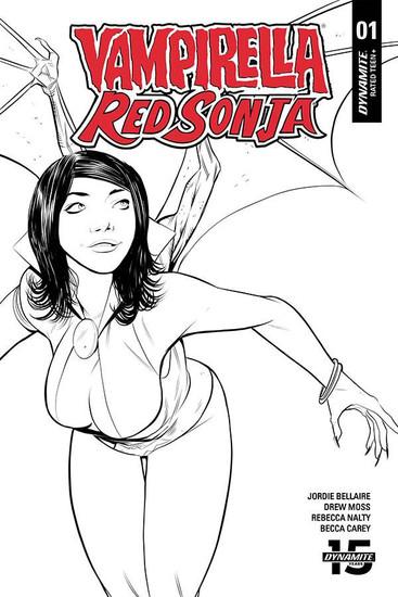 Dynamite Entertainment Vampirella / Red Sonja #1 Comic Book [Moss Black & White Cover]