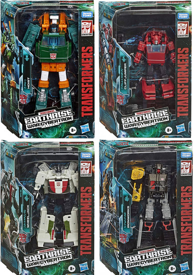 Transformers Generations Earthrise: War for Cybertron Trilogy Hoist, Cliffjumper, Wheeljack, & Ironworks Deluxe Set of 4 Action Figures