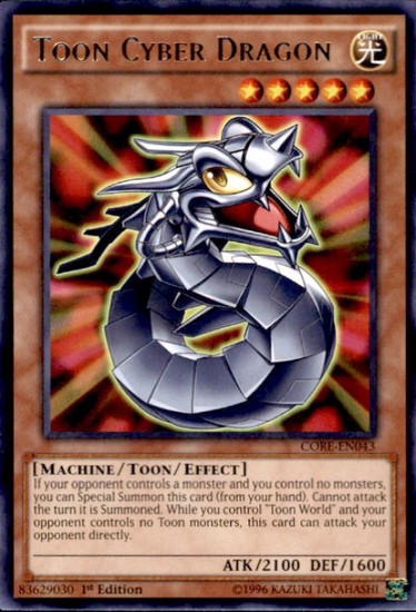 YuGiOh Clash of Rebellions Rare Toon Cyber Dragon CORE-EN043