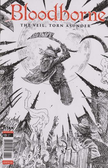 Titan Comics Bloodborne #13 The Veil, Torn Asunder Comic Book [SDCC 2019 Black & White Variant Cover]