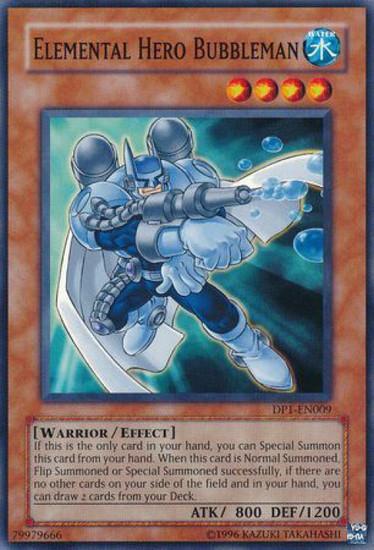 YuGiOh GX Trading Card Game Duelist Pack Jaden Yuki Common Elemental Hero Bubbleman DP1-EN009