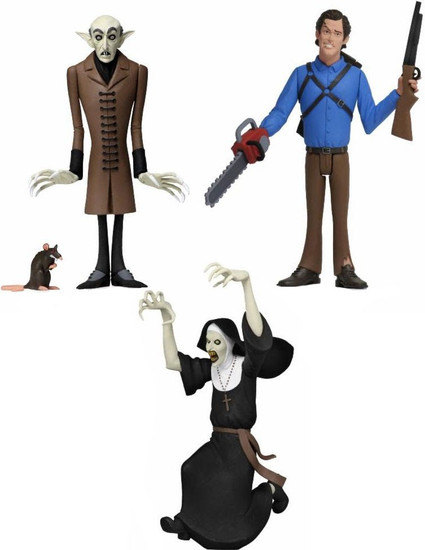 NECA Horror Toony Terrors Series 3 Ash, The Nun & Count Orlok Set of 3 Action Figures