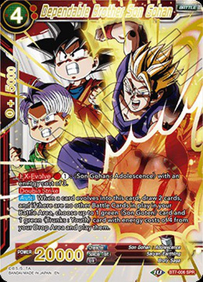 Dragon Ball Super Collectible Card Game Assault of the Saiyans Special Rare Dependable Brother Son Gohan BT7-006_SPR