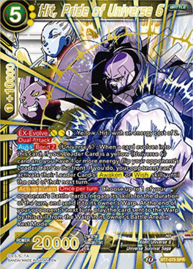 Dragon Ball Super Collectible Card Game Assault of the Saiyans Special Rare Hit, Pride of Universe 6 BT7-079_SPR