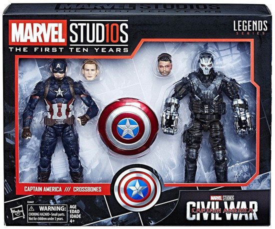 Avengers: Civil War Marvel Studios: The First Ten Years Marvel Legends Captain America & Crossbones Action Figure 2-Pack [Damaged Package]