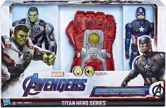 Marvel Avengers Endgame Titan Hero Series Hulk, Captain America & Electronic Gauntlet Action Figure 3-Pack