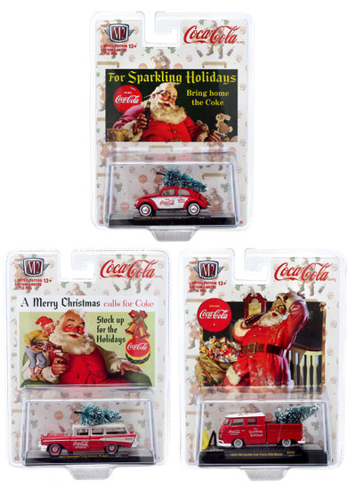 M2 Machines Coca-Cola Holidays Diecast Vehicle 6-Pack ['53 VW Beetle, '59 VW Truck & '57 Chevy Wagon]