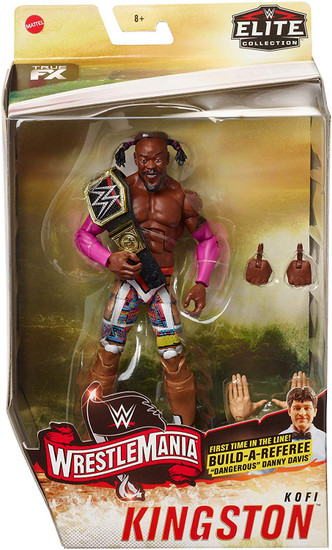 "WWE Wrestling Elite Collection WrestleMania 35 Kofi Kingston Action Figure [Build Referee ""Dangerous"" Danny Davis!]"