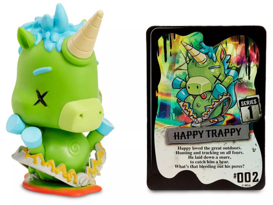 RIP Rainbows In Pieces Happy Trappy Figure Zombie Unicorn /& Trading Card NEW