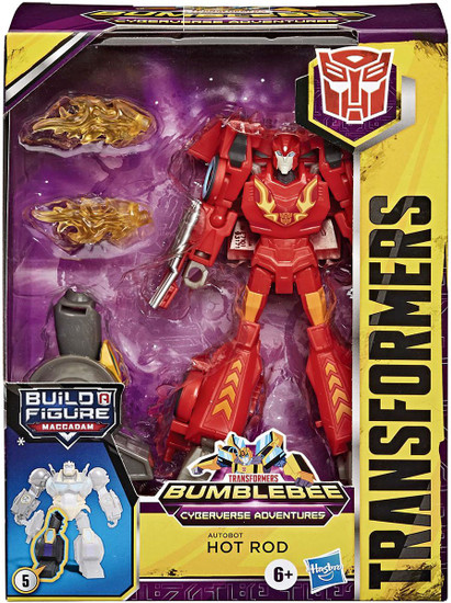 Transformers Bumblebee Cyberverse Adventures Build a Maccadam Hot Rod Deluxe Action Figure