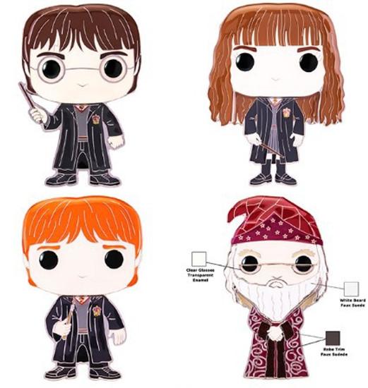 Funko POP! Pins Dumbledore, Ron Weasley, Hermione Granger & Harry Potter Set of 4 Large Enamel Pins