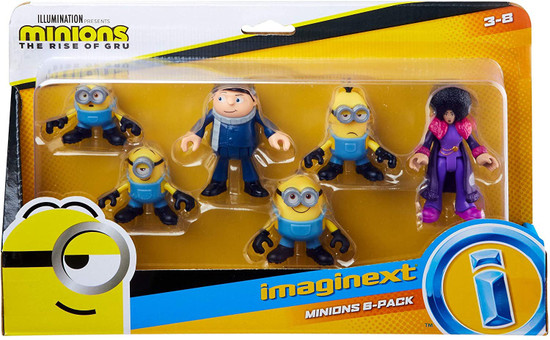 Fisher Price Despicable Me Minions: Rise of Gru Imaginext Gru, Otto, Kevin, Stuart, Bob & Belle Bottom Figure 6-Pack