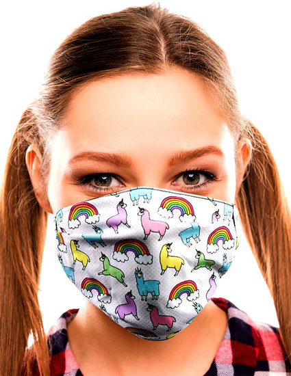 Gotta Get it Gifts Polyester / Spandex, Fabric, Adjustable, 2-Layer Reusable & Washable Llamas & Unicorns Face Mask [One Size Fits All] (Pre-Order ships June)