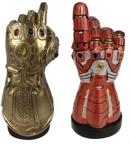 Marvel Avengers Infinity War Thanos Infinity Gauntlet & Nano Gauntlet Exclusive Desk Monument 2-Pack