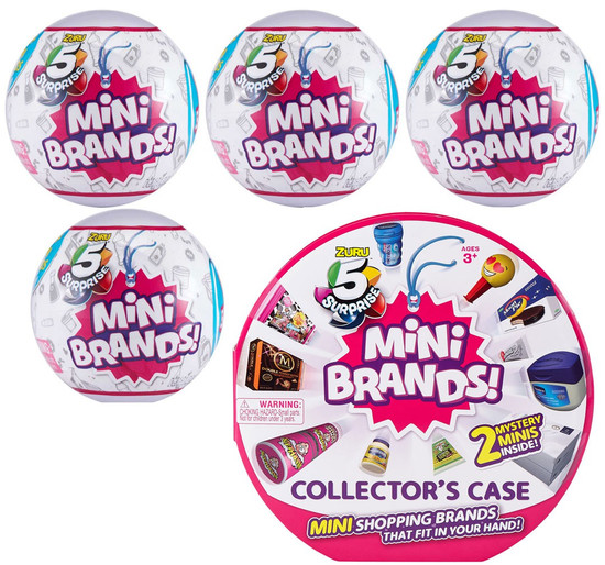 5 Surprise Mini Brands! Series 1 COMBO Set [4 Mystery Packs & Collector Case]