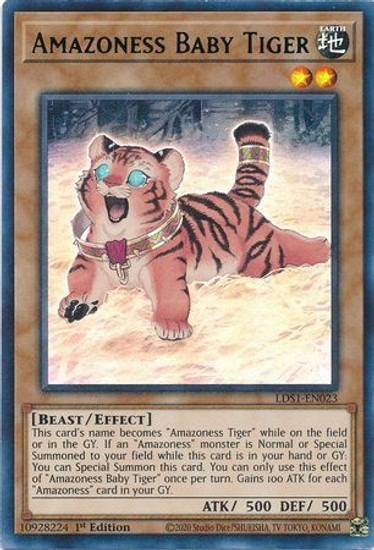 YuGiOh Legendary Duelists: Season 1 Ultra Rare Amazoness Baby Tiger LDS1-EN023 [Green Variant]