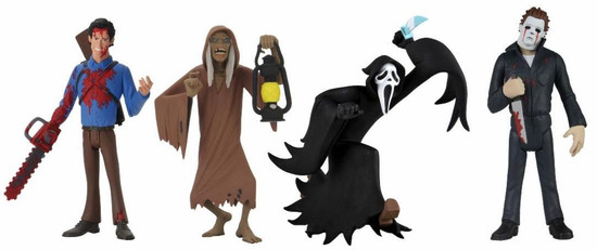 NECA Horror Toony Terrors Series 5 Ghostface, Creep, Bloody Ash & Michael Myers Set of 4 Action Figures (Pre-Order ships January)