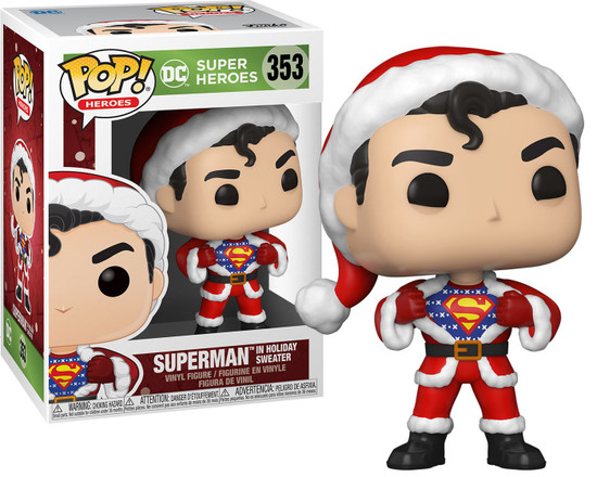 Funko DC Holiday POP! Heroes Superman with Sweater Vinyl Figure #353