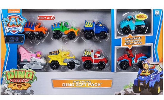 Paw Patrol Dino Rescue True Metal Dino Gift Pack Exclusive Diecast Car 8-Pack [Includes Exclusive Ryder & Rex!]