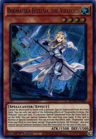 YuGiOh Rise of the Duelist Ultra Rare Dogmatika Ecclesia, the Virtuous ROTD-EN005