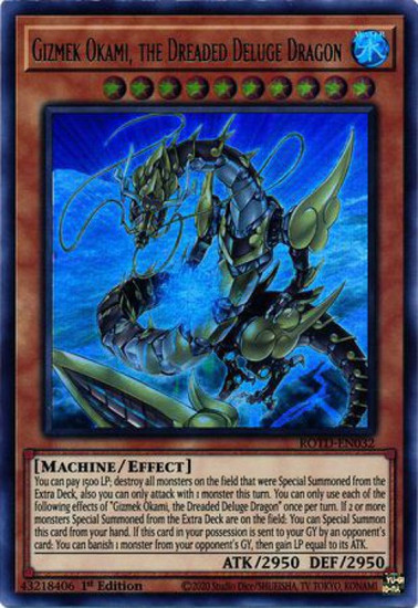 YuGiOh Rise of the Duelist Ultra Rare Gizmek Okami, the Dreaded Deluge Dragon ROTD-EN032