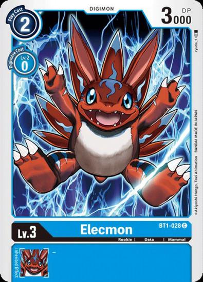 Digimon Trading Card Game 2020 V.1 Common Elecmon BT1-028