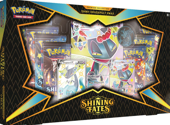 Pokemon Trading Card Game Shining Fates Dragapult VMAX Premium Collection [7 Booster Packs, 2 Promo Cards, Oversize Card & Coin]