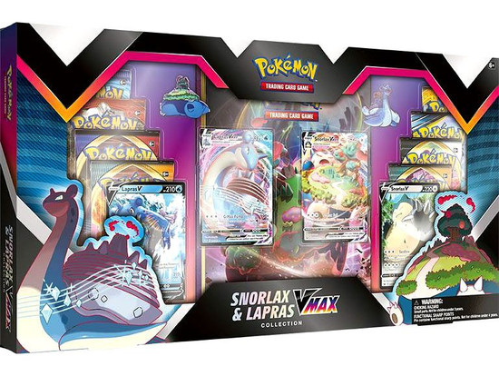 Pokemon Trading Card Game Snorlax & Lapras VMAX Exclusive Collection [8 Booster Packs, 4 Promo Cards & 2 Pins!] (Pre-Order ships January)