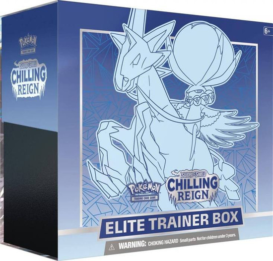Pokemon Trading Card Game Sword & Shield Chilling Reign ICE Rider Calyrex Elite Trainer Box [8 Booster Packs, 65 Card Sleeves, 45 Energy Cards & More]