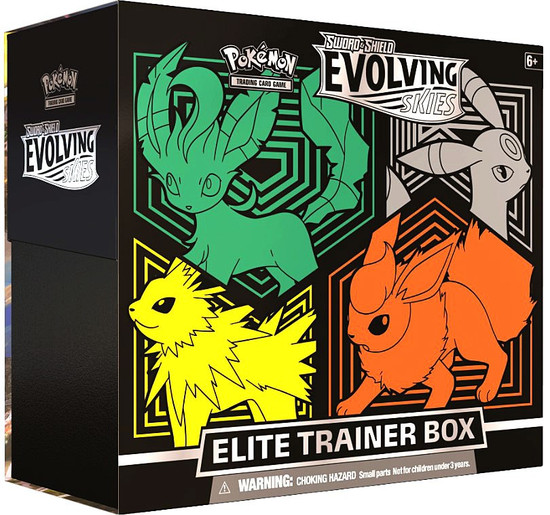 Pokemon Trading Card Game Sword & Shield Evolving Skies Leafeon, Umbreon, Jolteon & Flareon Elite Trainer Box [8 Booster Packs, 65 Card Sleeves, 45 Energy Cards & More]