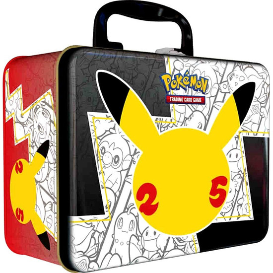 Pokemon Trading Card Game Celebrations Collector's Chest Pikachu 25th Tin Set [6 Booster Packs + 4 Additional Packs, 3 Foil Promo Cards, Coin & More] (Pre-Order ships November)