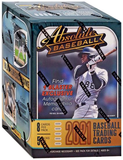 MLB Panini 2021 Absolute Baseball Trading Card BLASTER Box [5 Packs, 1 Autograph OR Memorabilia Card]