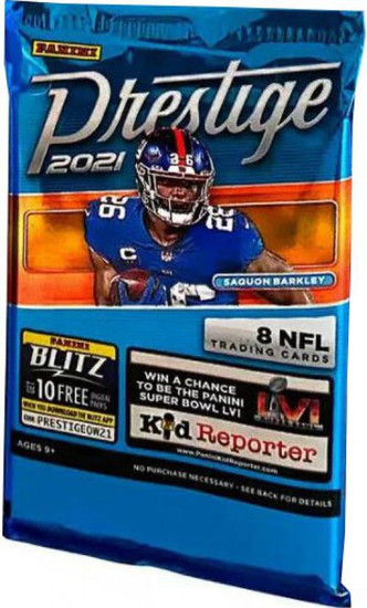 NFL Panini 2021 Prestige Football Trading Card RETAIL Pack [8 Cards]