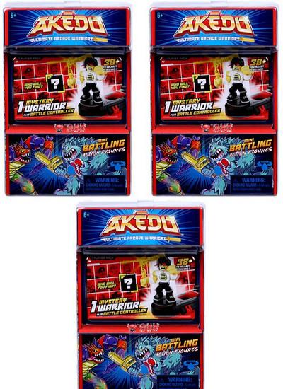 Akedo Ultimate Arcade Warriors Series 1 LOT of 3 Mini Battling Action Figure MYSTERY Packs