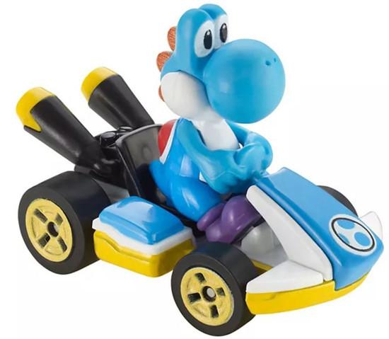 Hot Wheels Mario Kart Standard Kart Light-Blue Yoshi Diecast Car [Loose]
