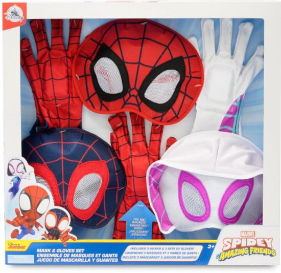 Marvel Spidey & His Amazing Friends Spidey (Peter Parker), Spin (Miles Morales) & Ghost-Spider (Gwen Stacy) Exclusive Mask & Gloves 3-Pack Set