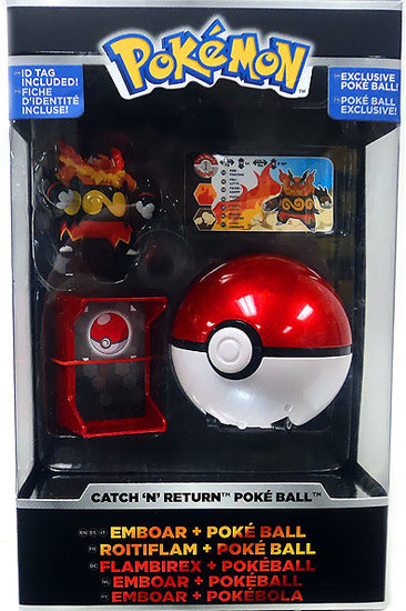 Pokemon Catch n Return Pokeball Emboar & Poke Ball Trainer's Choice Figure