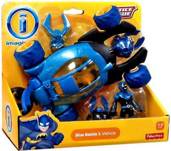Fisher Price DC Super Friends Imaginext Justice League Blue Beetle & Vehicle Exclusive 3-Inch Figure Set